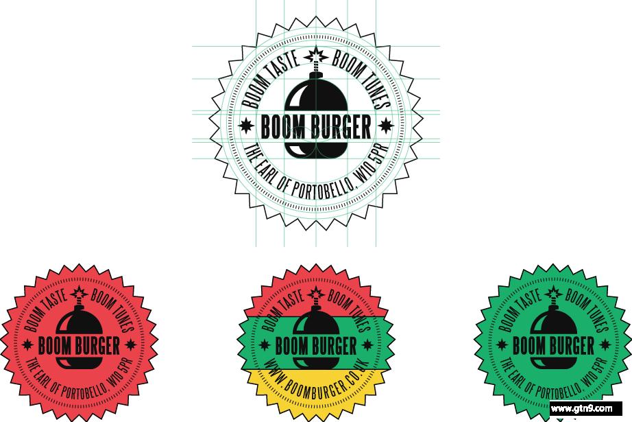 boom 汉堡品牌形象设计-古田路9号-品牌创意/版权保护