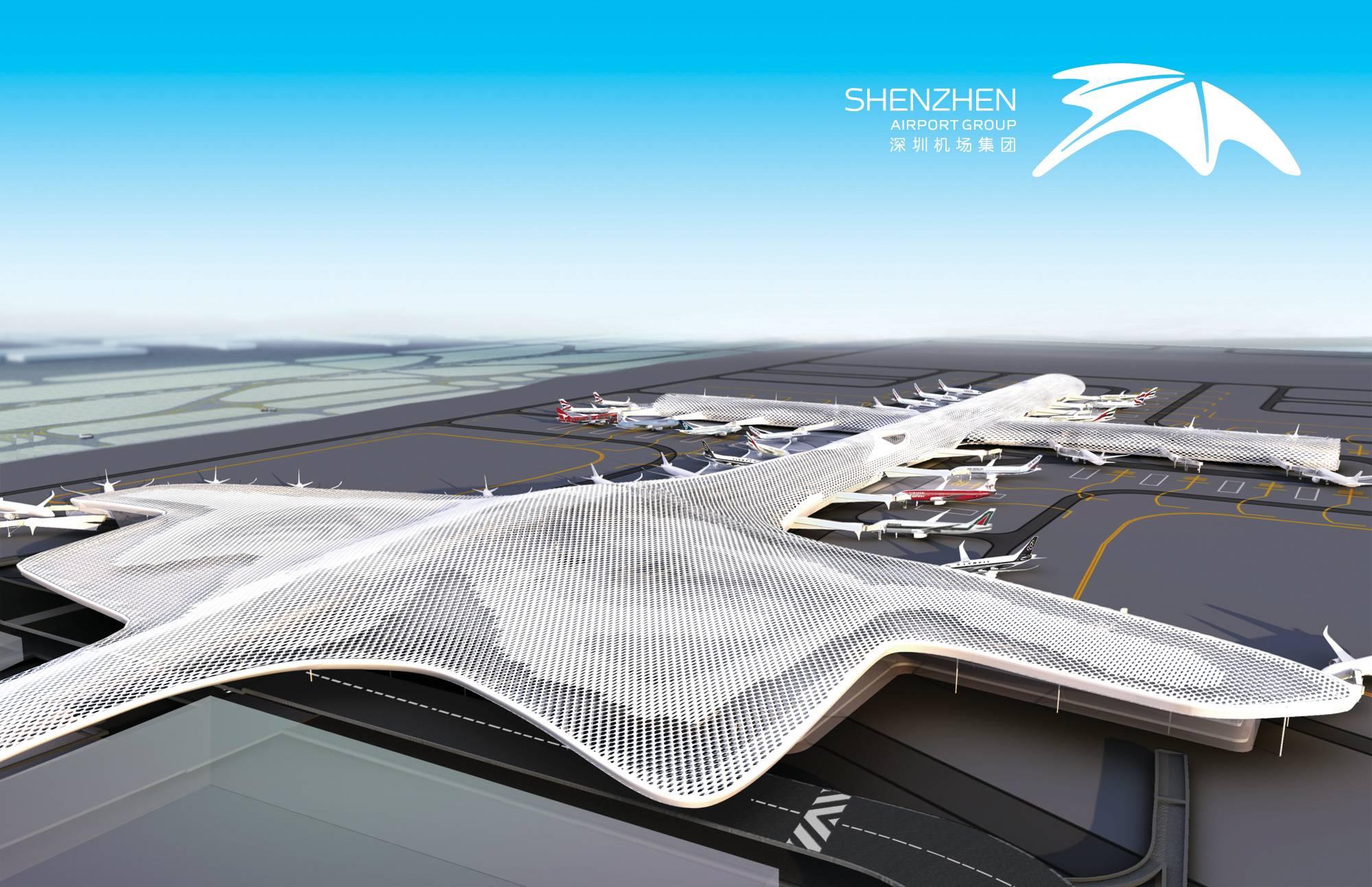 深圳机场是全国第四大机场。已经投入使用的新航站楼,由世界著名的意大利福克萨斯公司与北京市建筑设计研究院联合设计完成。新航站楼是深圳重要门户形象与之一,也是深圳新地标。 深圳机场的品牌形象由靳刘高设计完成,作为深圳广迎海内外游客的第一印象,体现创意与活力的城市定位。标志造型来自机场飞鱼外形,圆润的外轮廓也寓意环球的行业特色,代表国际交流与发展,寓意深圳机场打造国际一流的机场运营管理企业的品牌愿景。整体结构呈向上发展,具视觉引导效果,寓意企业追求卓越、积极进取、创新发展的企业文化。 在T3航站楼落成之际,该
