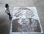 20,000向日葵种子做的艾-未-未-肖像