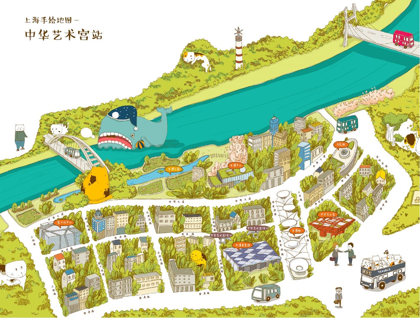 [转载]萌物版上海手绘地图欣赏-朗锐设计