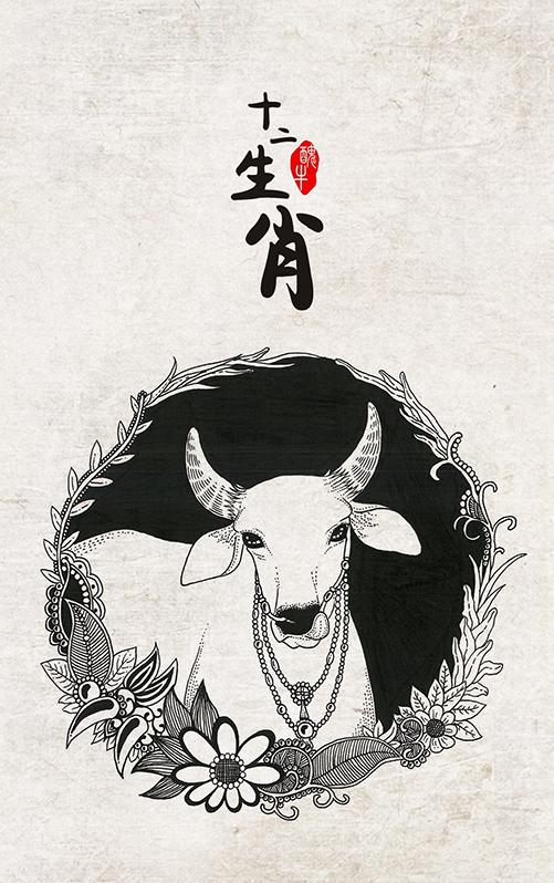 黑白插画十二生肖图片